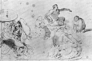 A Page of Sketches, Attributed to Jerome Bosch by Hieronymus Bosch
