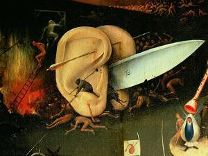 The Garden of Earthly Delights: Hell, Right Wing of Triptych, Detail of Ears with a Knife, c. 1500 by Hieronymus Bosch