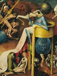 The Garden of Earthly Delights: Right Wing of Triptych, Detail of Blue Bird-Man on a Stool, c. 1500 by Hieronymus Bosch