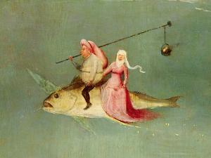 The Temptation of St. Anthony, Right Hand Panel, Detail of a Couple Riding a Fish by Hieronymus Bosch