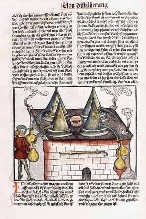 Illustration of a Late 15th Century Distillery to Extract the Essential Oils of Plants, 1500