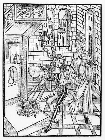 Surgeon's assistant heating medicine, from 'Das Buch der Cirugia', published Strasbourg, 1497