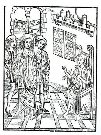 Surgeon Visits a Man with Arrow Wounds, from 'Das Buch der Cirugia' published Strasbourg, 1497