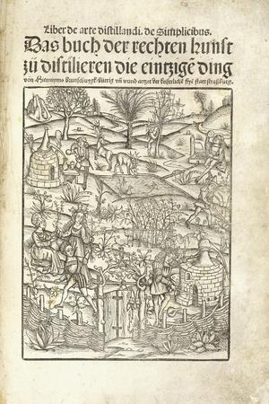 Title Page, Illustrating Herbal Distilleries with Figures in a Landscape, 1500