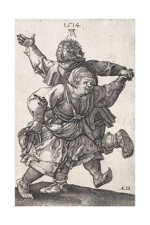 Dancing Peasant Couple, by Hieronymus Wierix Copied from Albrecht Durer, Engraving, C. 1559-1619