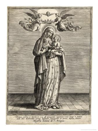 Depicted Showing the Infant Jesus a Single Rose