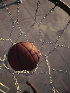 High Angle View of a Basketball in a Net