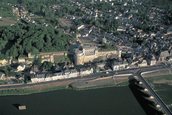 High Angle View of a Castle at the Waterfront, Chateau D'Amboise, Amboise, Centre, France--Photographic Print
