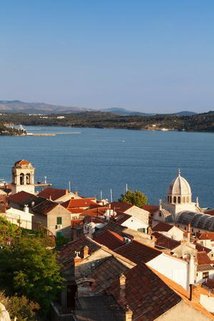 High Angle View of a Cathedral in a Town on the Coast, Sibenik Cathedral, Sibenik, Dalmatia--Photographic Print