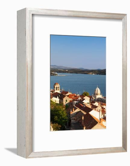 High Angle View of a Cathedral in a Town on the Coast, Sibenik Cathedral, Sibenik, Dalmatia--Framed Photographic Print