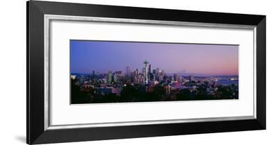 High Angle View of a City at Sunrise, Seattle, Mt Rainier, King County, Washington State, USA 2013--Framed Photographic Print