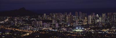 High Angle View of a City Lit Up at Night, Honolulu, Oahu, Honolulu County, Hawaii, USA--Photographic Print