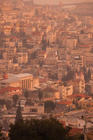 High angle view of a city, Nazareth, Galillee, Israel--Photographic Print