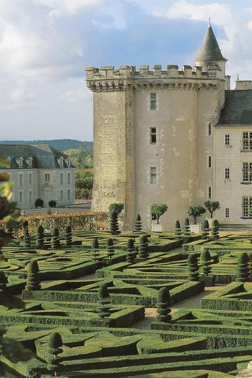 High Angle View of a Formal Garden in Front of a Castle, Villandry, Centre, France--Photographic Print
