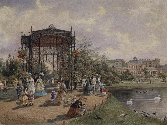 High Angle View of a Group of People Walking in a Park, Bastion Promenade, Vienna, Austria--Giclee Print
