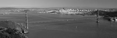 High Angle View of a Suspension Bridge, Golden Gate Bridge, San Francisco, California, USA--Photographic Print