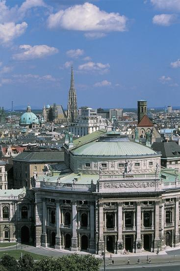High Angle View of a Theater Building in a City, Burgtheater, Vienna, Austria--Giclee Print
