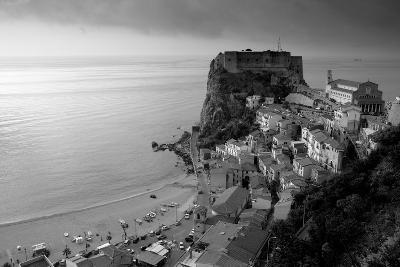 High angle view of a town and a castle on a cliff, Castello Ruffo, Scilla, Calabria, Italy--Photographic Print