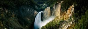 High Angle View of a Waterfall in a Forest, Lower Falls, Yellowstone River