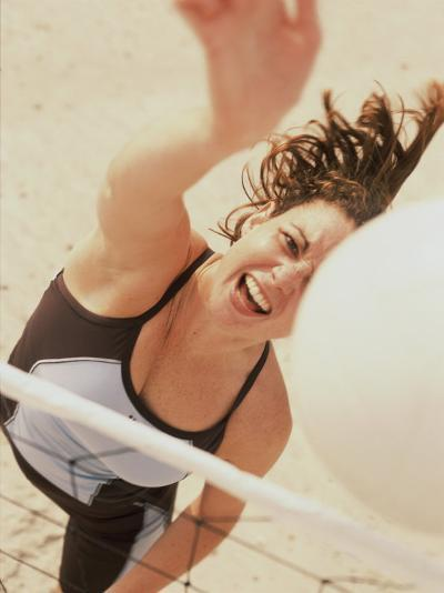 High Angle View of a Young Female Volleyball Player--Photographic Print