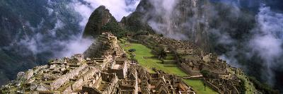 High Angle View of an Archaeological Site, Inca Ruins, Machu Picchu, Cusco Region, Peru--Photographic Print