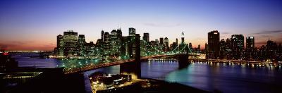 High Angle View of Brooklyn Bridge, New York City, New York State, USA--Photographic Print