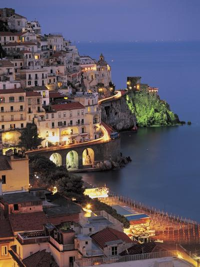 High Angle View of Buildings Lit Up at Night, Amalfi Coast, Campania, Italy--Photographic Print
