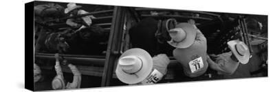 High Angle View of Cowboys with Horses at Rodeo, Wichita Falls, Texas, USA