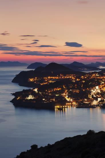 High Angle View of Dubrovnik at Sunset, UNESCO World Heritage Site, Dalmatia, Croatia, Europe-Markus Lange-Photographic Print