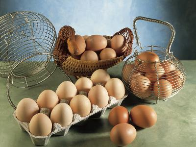 High Angle View of Eggs in Baskets and a Carton-P^ Martini-Photographic Print
