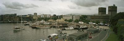 High Angle View of Harbor and a City Hall, Oslo, Norway--Photographic Print