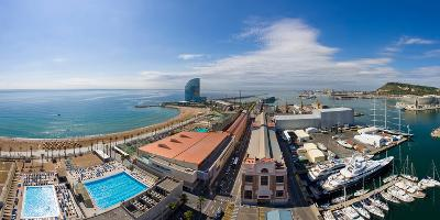 High Angle View of Harbor, Barcelona, Catalonia, Spain--Photographic Print