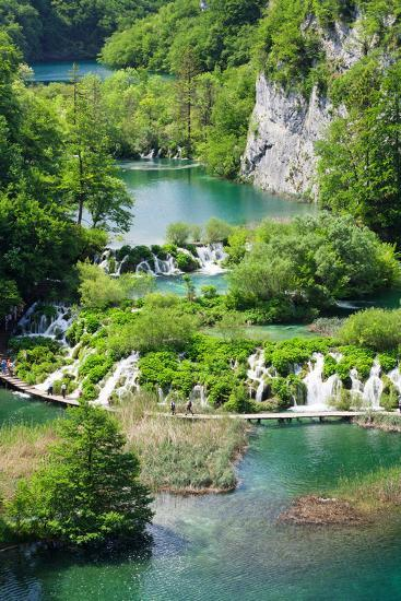 High Angle View of Lakes, Gavanovac Lake, Milanovac Lake, Plitvice Lakes National Park, Croatia--Photographic Print