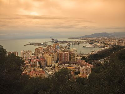 High Angle View of Malaga Cityscape with Bullring and Docks, Andalusia, Spain, Europe-Ian Egner-Photographic Print