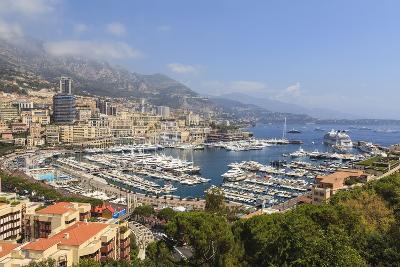 High Angle View of Monaco and Harbour, Monaco, Mediterranean, Europe-Amanda Hall-Photographic Print