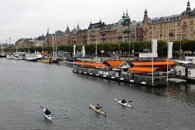 High Angle View of People Kayaking in Stockholm-Jill Schneider-Photographic Print