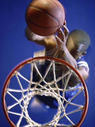 High Angle View of Person Shooting Hoops--Photographic Print