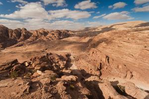 High Angle View of Petra Valley, Ancient Nabatean City of Petra, Wadi Musa, Ma'an Governorate, J...