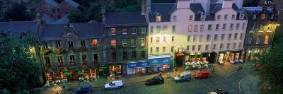High Angle View of Pubs at Dusk in Grassmarket, Edinburgh, Scotland--Photographic Print
