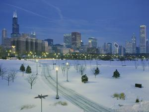 High Angle View of Snow Covered Landscape with Buildings in the Background, Chicago, Illinois, USA