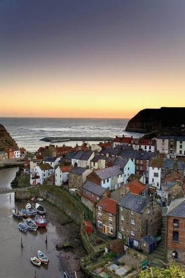 High Angle View of Staithes Townscape; North Yorkshire, England, Uk-Design Pics Inc-Photographic Print