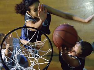 High Angle View of Teenage Girls Playing Basketball
