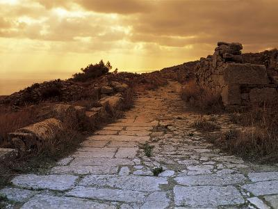 High Angle View of the Sacred Way, Ancient Thera, Santorini, Cyclades Islands, Southern Aegean--Giclee Print