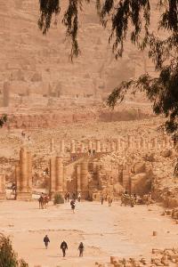 High angle view of tourists at Ancient Nabatean City of Petra, Wadi Musa, Ma'an Governorate, Jordan