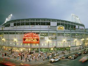 High Angle View of Tourists Outside a Baseball Stadium Opening Night, Wrigley Field, Chicago