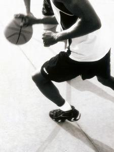 High Angle View of Two Mid Adult Men Playing Basketball