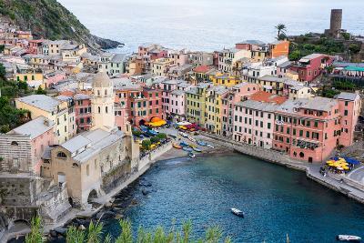 High Angle View of Vernazza, Cinque Terre, UNESCO World Heritage Site, Liguria, Italy, Europe-Peter Groenendijk-Photographic Print