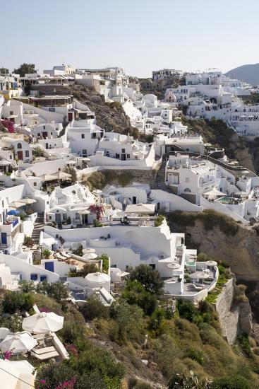 High Angle View of Whitewashed Buildings in Santorini, Greece-Krista Rossow-Photographic Print