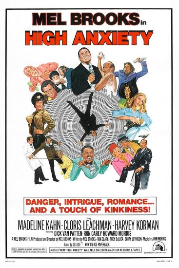 HIGH ANXIETY, US poster, Mel Brooks (top center), 1977--Art Print