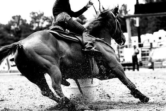 High Contrast, Black and White Closeup of a Rodeo Barrel Racer Making a Turn at One of the Barrels-Lincoln Rogers-Photographic Print